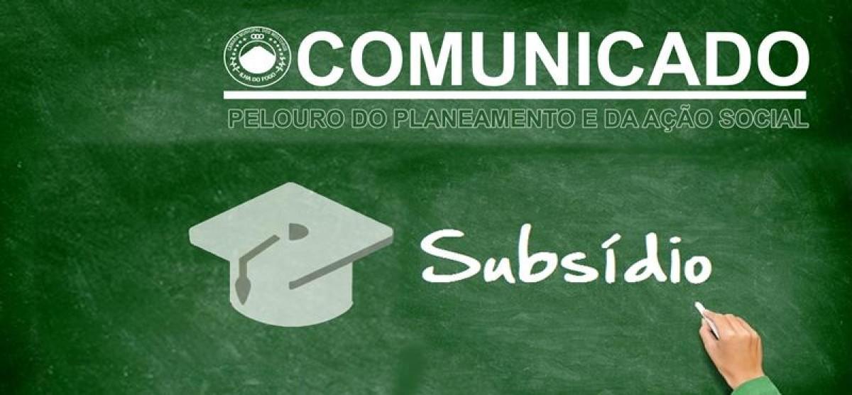 Comunicado: Atribuição Subsídio Ensino Superior