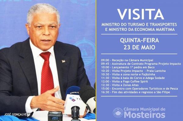 Ministro do Turismo e Transportes e da Economia Marítima visita Mosteiros